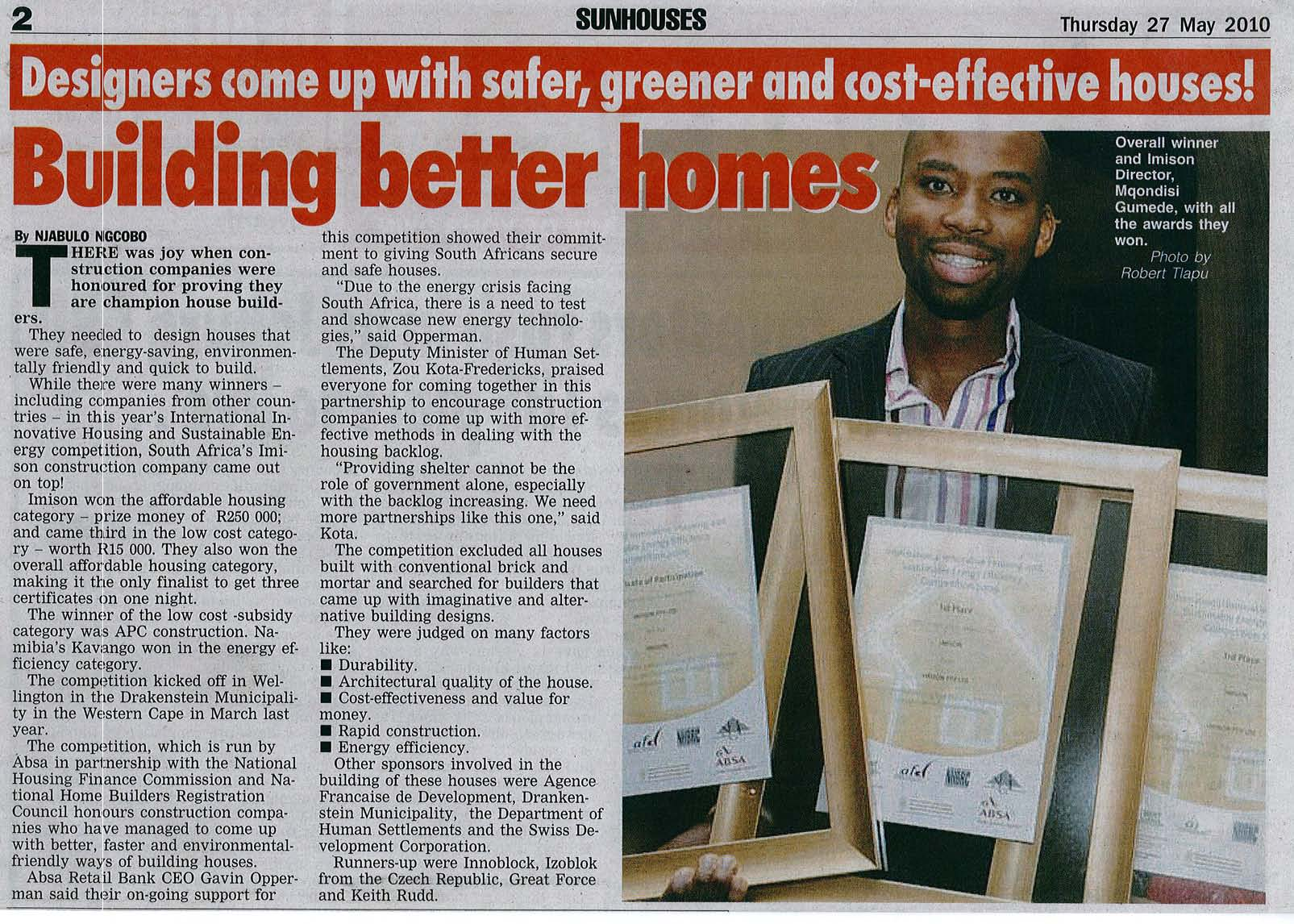 BuildingBetterHomes-DailySunThursday27May2010