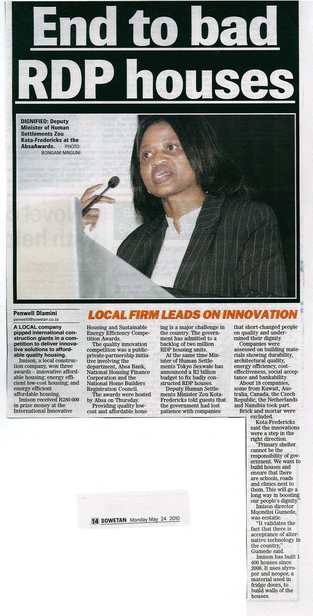 EndtobadRDPHouses-SowetanMonday14May2010